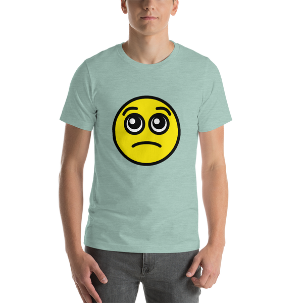 Emoji T-Shirt Store | Pleading Face emoji t-shirt in Green