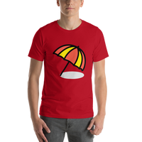 Emoji T-Shirt Store | Umbrella On Ground emoji t-shirt in Red