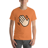Emoji T-Shirt Store | Waving Hand, Light Skin Tone emoji t-shirt in Orange