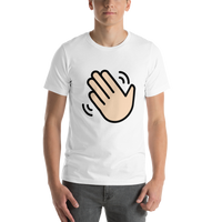 Emoji T-Shirt Store | Waving Hand, Light Skin Tone emoji t-shirt in White