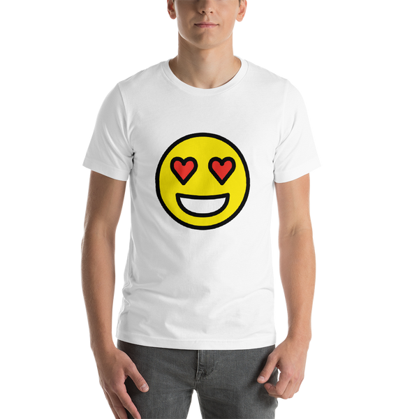 Emoji T-Shirt Store | Smiling Face With Heart-Eyes emoji t-shirt in White