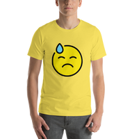 Emoji T-Shirt Store | Downcast Face With Sweat emoji t-shirt in Yellow