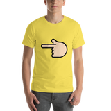 Emoji T-Shirt Store | Backhand Index Pointing Left, Light Skin Tone emoji t-shirt in Yellow