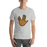 Emoji T-Shirt Store | Vulcan Salute, Medium Dark Skin Tone emoji t-shirt in Light gray