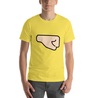 Emoji T-Shirt Store | Right Facing Fist, Light Skin Tone emoji t-shirt in Yellow