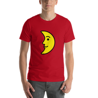 Emoji T-Shirt Store | First Quarter Moon Face emoji t-shirt in Red
