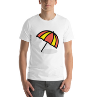 Emoji T-Shirt Store | Umbrella On Ground emoji t-shirt in White
