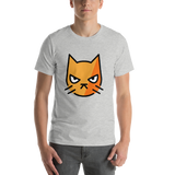 Emoji T-Shirt Store | Pouting Cat emoji t-shirt in Light gray