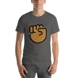 Emoji T-Shirt Store | Raised Fist, Medium Dark Skin Tone emoji t-shirt in Dark gray