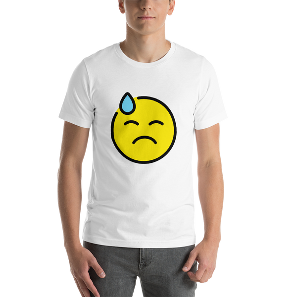 Emoji T-Shirt Store | Downcast Face With Sweat emoji t-shirt in White