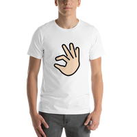 Emoji T-Shirt Store | Pinching Hand, Light Skin Tone emoji t-shirt in White