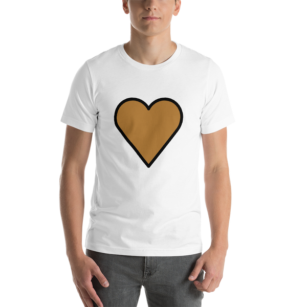 Emoji T-Shirt Store | Brown Heart emoji t-shirt in White