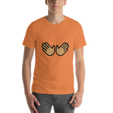 Emoji T-Shirt Store | Open Hands, Medium Skin Tone emoji t-shirt in Orange