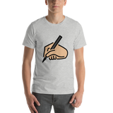 Emoji T-Shirt Store | Writing Hand, Medium Light Skin Tone emoji t-shirt in Light gray