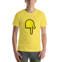 Emoji T-Shirt Store | Backhand Index Pointing Down emoji t-shirt in Yellow