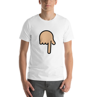 Emoji T-Shirt Store | Backhand Index Pointing Down, Medium Light Skin Tone emoji t-shirt in White