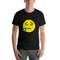 Emoji T-Shirt Store | Sad But Relieved Face emoji t-shirt in Black