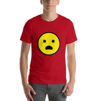 Emoji T-Shirt Store | Frowning Face With Open Mouth emoji t-shirt in Red