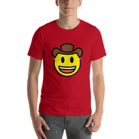 Emoji T-Shirt Store | Cowboy Hat Face emoji t-shirt in Red