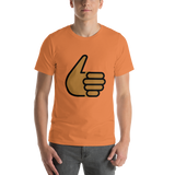 Emoji T-Shirt Store | Thumbs Up, Medium Dark Skin Tone emoji t-shirt in Orange