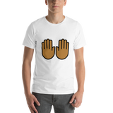 Emoji T-Shirt Store | Raising Hands, Medium Dark Skin Tone emoji t-shirt in White