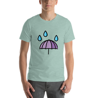 Emoji T-Shirt Store | Umbrella With Rain Drops emoji t-shirt in Green