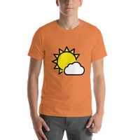 Emoji T-Shirt Store | Sun Behind Small Cloud emoji t-shirt in Orange