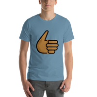 Emoji T-Shirt Store | Thumbs Up, Medium Dark Skin Tone emoji t-shirt in Blue
