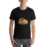 Emoji T-Shirt Store | Writing Hand, Medium Skin Tone emoji t-shirt in Black