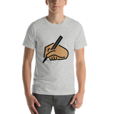 Emoji T-Shirt Store | Writing Hand, Medium Skin Tone emoji t-shirt in Light gray
