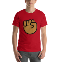 Emoji T-Shirt Store | Raised Fist, Medium Dark Skin Tone emoji t-shirt in Red