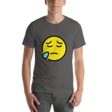 Emoji T-Shirt Store | Sad But Relieved Face emoji t-shirt in Dark gray