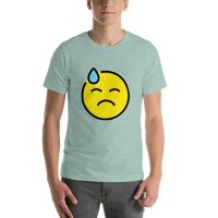 Emoji T-Shirt Store | Downcast Face With Sweat emoji t-shirt in Green
