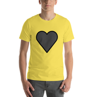 Emoji T-Shirt Store | Black Heart emoji t-shirt in Yellow