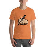 Emoji T-Shirt Store | Writing Hand, Medium Light Skin Tone emoji t-shirt in Orange
