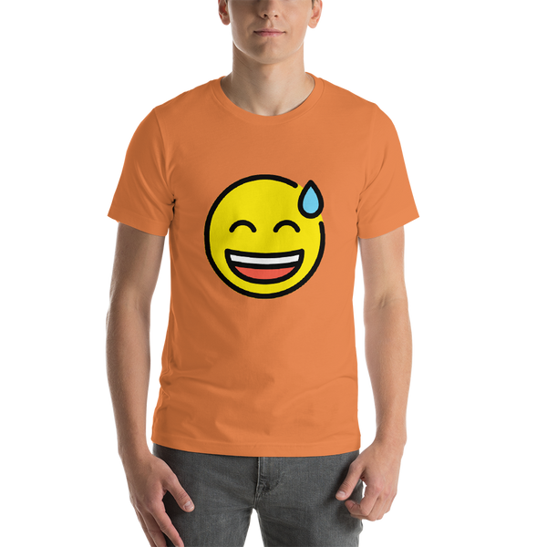 Emoji T-Shirt Store | Grinning Face With Sweat emoji t-shirt in Orange