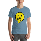 Emoji T-Shirt Store | Face With Hand Over Mouth emoji t-shirt in Blue