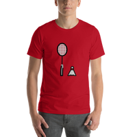 Emoji T-Shirt Store | Badminton emoji t-shirt in Red