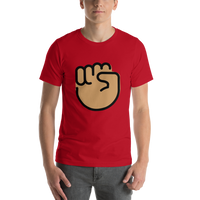 Emoji T-Shirt Store | Raised Fist, Medium Skin Tone emoji t-shirt in Red