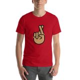 Emoji T-Shirt Store | Crossed Fingers, Medium Skin Tone emoji t-shirt in Red