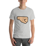 Emoji T-Shirt Store | Right Facing Fist, Medium Light Skin Tone emoji t-shirt in Light gray