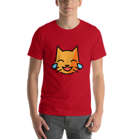Emoji T-Shirt Store | Cat With Tears Of Joy emoji t-shirt in Red
