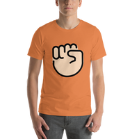 Emoji T-Shirt Store | Raised Fist, Light Skin Tone emoji t-shirt in Orange