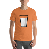 Emoji T-Shirt Store | Glass Of Milk emoji t-shirt in Orange