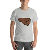 Emoji T-Shirt Store | Right Facing Fist, Dark Skin Tone emoji t-shirt in Light gray