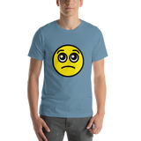 Emoji T-Shirt Store | Pleading Face emoji t-shirt in Blue