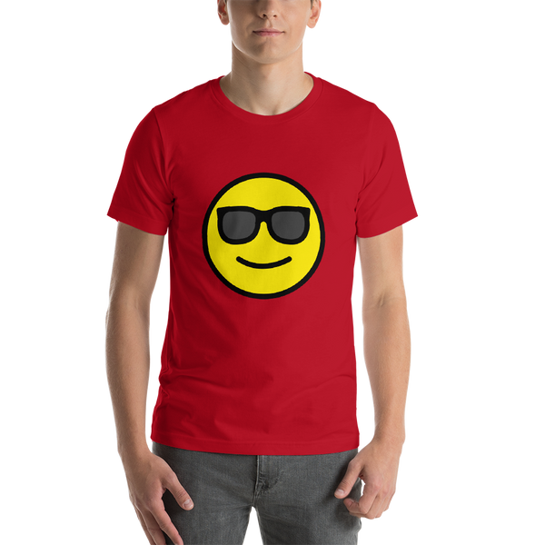 Emoji T-Shirt Store | Smiling Face With Sunglasses emoji t-shirt in Red