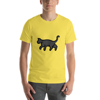 Emoji T-Shirt Store | Black Cat emoji t-shirt in Yellow