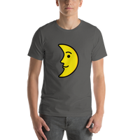 Emoji T-Shirt Store | First Quarter Moon Face emoji t-shirt in Dark gray