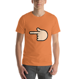 Emoji T-Shirt Store | Backhand Index Pointing Left, Light Skin Tone emoji t-shirt in Orange